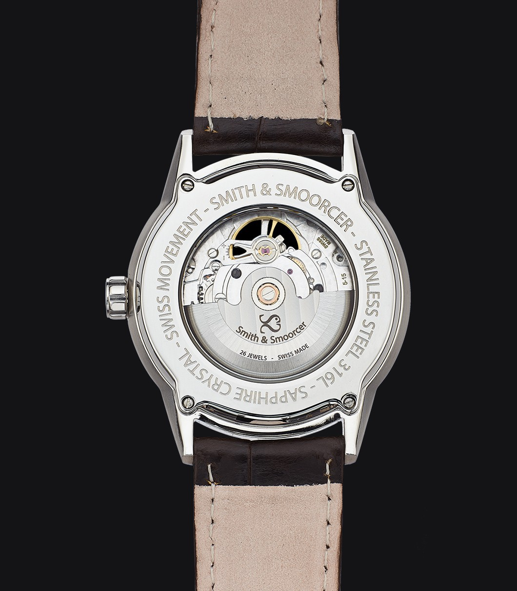 White Automatic Watch Caliope Sunrise Grey Open Heart Coffee