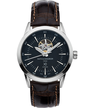 Reloj Automático Negro Caliope Plain Dusk Open Heart Coffee