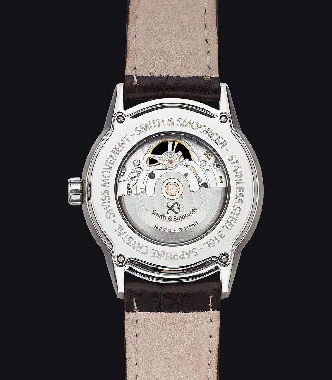 Black Automatic Watch Caliope Plain Dusk Open Heart Coffee