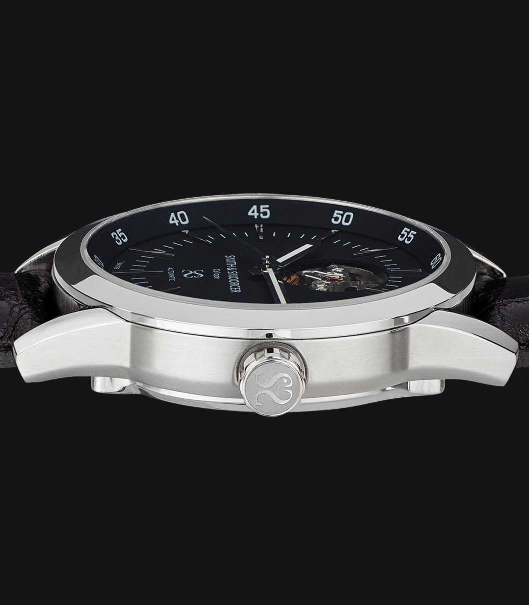Black Automatic Watch Caliope Plain Dusk Open Heart Coffee