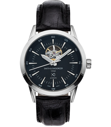 Reloj Automático Caliope Plain Dusk Open Heart Black
