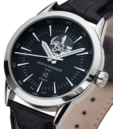 Black Automatic Watch Caliope Plain Dusk Open Heart Black