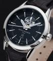 Black Automatic Watch Caliope Plain Dusk Open Heart Black