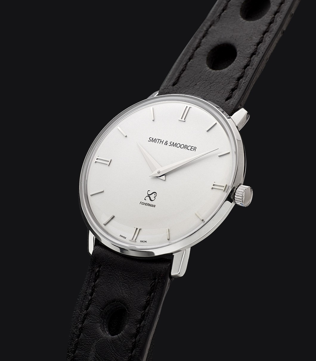 White Dial Watch Fisherman Snowy Racing Black
