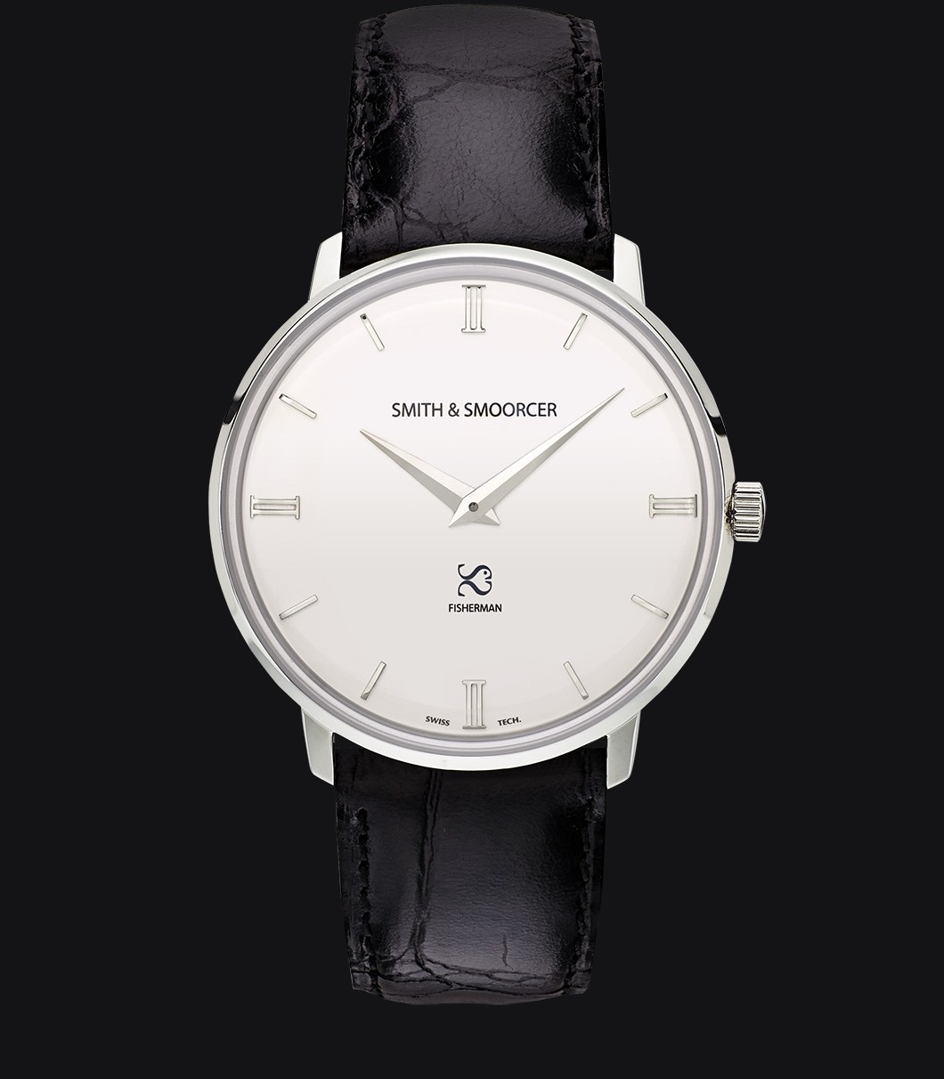 White Classic Watch Fisherman Snowy Luxury Black