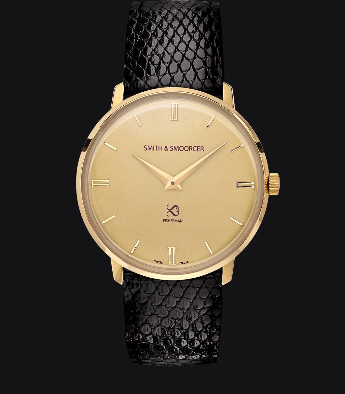 Gold Watch Lizard Fisherman Vintage Elegance Black