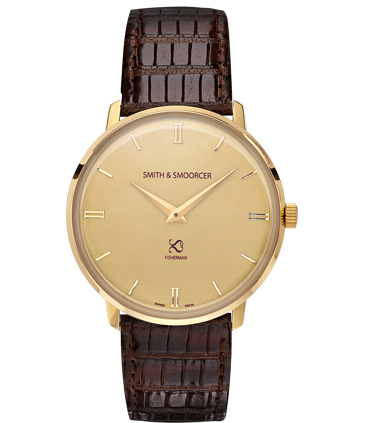 Gold Watch Lizard Fisherman Vintage Elegance Dark Brown