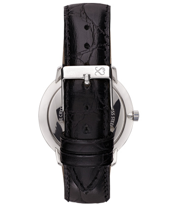Black Alligator Finish Leather Watch Strap