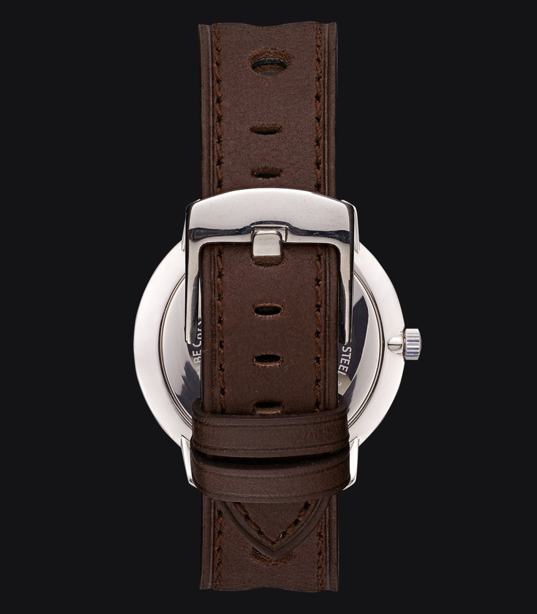 Dark Brown Perforated Leather Watch Strap