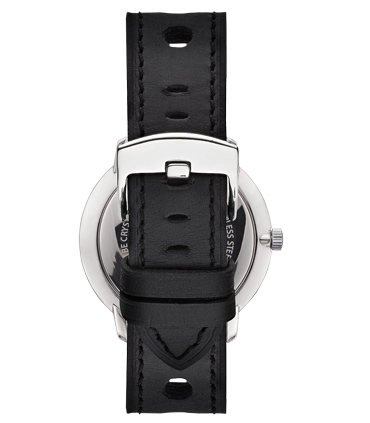 Black Perforated Leather Watch Strap