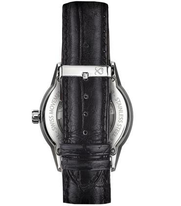 Correa Reloj Piel Cocodrilo Negra